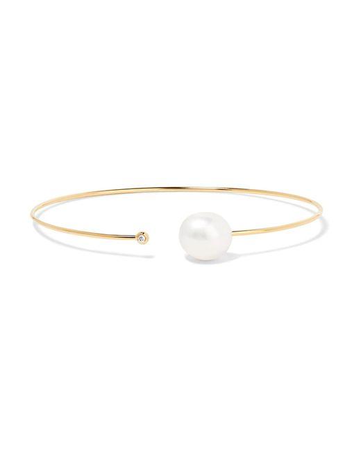 Mizuki - Metallic Gold, Diamond And Pearl Cuff Bracelet - Lyst