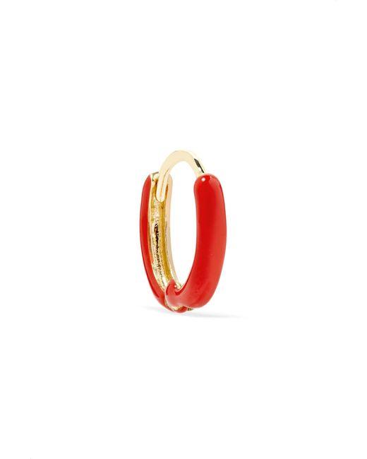 Alison Lou | Metallic Huggy 14-karat Gold Enamel Hoop Earring | Lyst