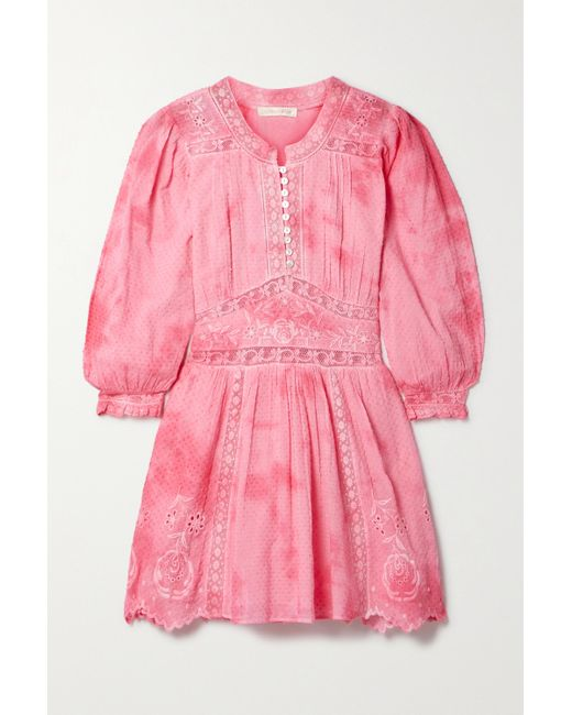LoveShackFancy Pink Leno Tie-dyed Broderie Anglaise Swiss-dot Cotton Mini Dress