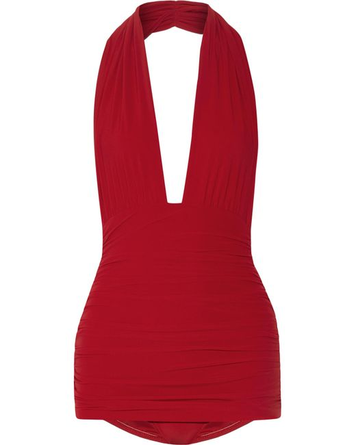 Norma Kamali | Red Bill Ruched Halterneck Swimsuit | Lyst