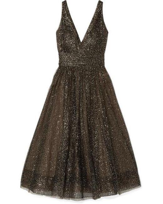 a1076a2e Marchesa notte - Black Glittered Tulle Midi Dress - Lyst ...