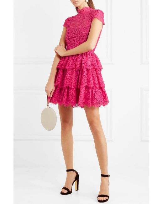 Ruffled Cotton-blend Corded Lace Mini Dress - Pink Alice & Olivia xgxLiNzhp0