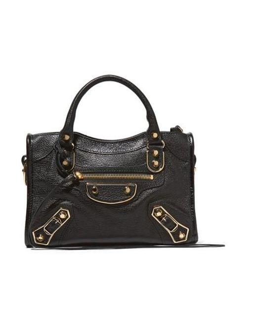 Balenciaga Black Classic Metallic Edge City Mini Textured-leather Shoulder Bag