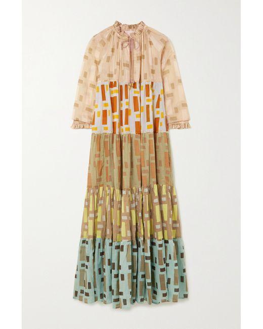 Yvonne S Multicolor Hippy Maxikleid Aus Bedrucktem Baumwoll-voile
