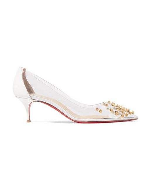 reputable site c692a 16eb0 Women's White Collaclou 55 Spiked Pvc And Patent-leather Pumps