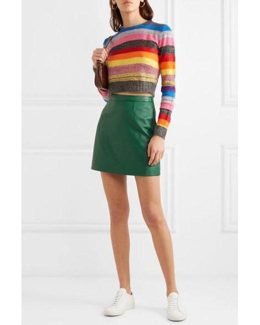 03f10c3cf ... AlexaChung - Green B-line Leather Mini Skirt - Lyst ...