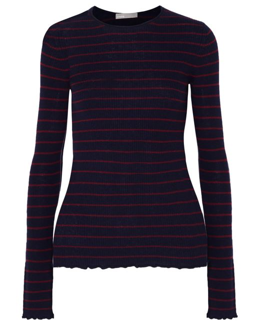 Vince - Blue Striped Ribbed Cashmere Sweater - Lyst