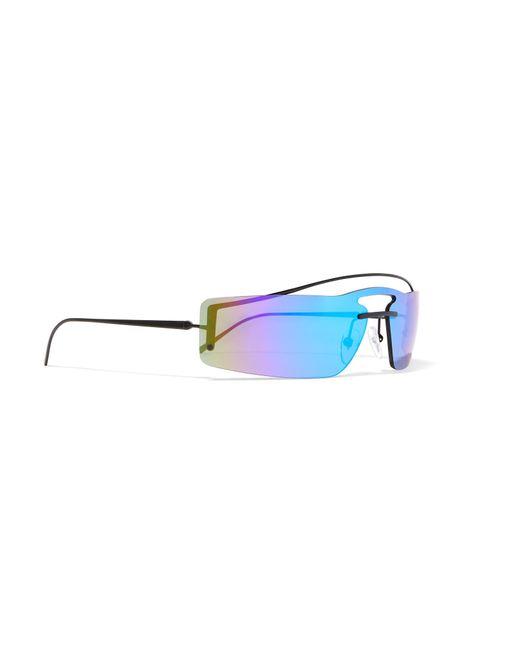 620705829121 ... denmark prada blue square frame metal mirrored sunglasses lyst aa18e  efec9
