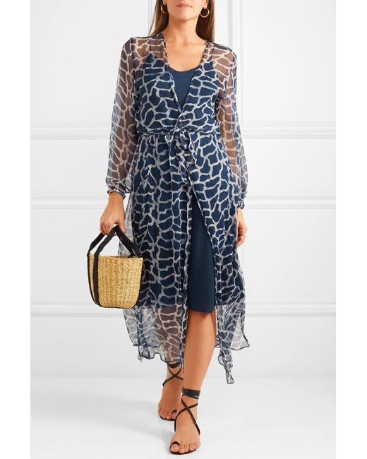 a5b9b77c2e ... Cloe Cassandro - Blue Jemima Giraffe-print Silk-crepon Wrap Midi Dress  - Lyst ...