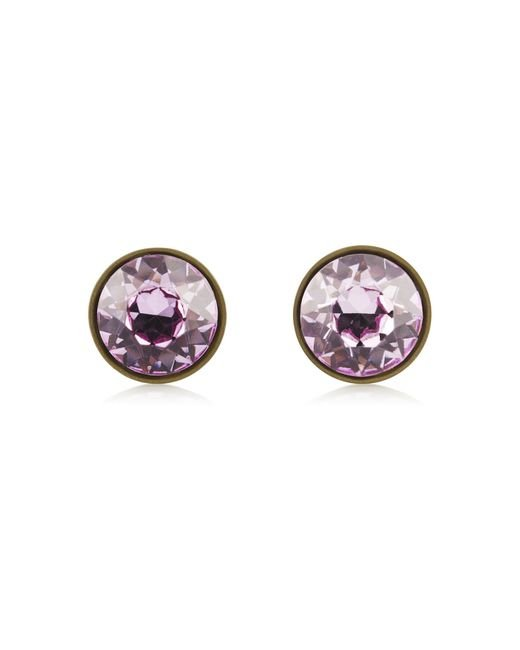 Givenchy | Small Round Earrings In Lacquered Pewter And Purple Crystal | Lyst
