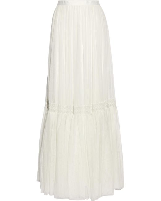0fcbc529d Needle & Thread - White Bridal Lace-trimmed Tulle Maxi Skirt - Lyst ...