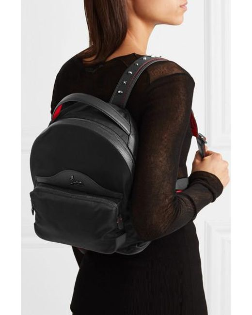 922e0f1acba Christian Louboutin Leather-trimmed Studded Shell Backpack in Black ...