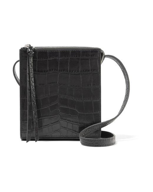 Elizabeth and James   Black Sara Croc-effect Leather Shoulder Bag   Lyst
