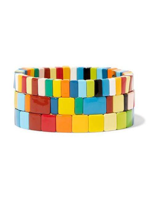 Roxanne Assoulin Blue Rainbow Brite Set Of Three Enamel Bracelets