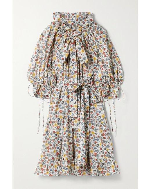 Horror Vacui White Hilde Tie-detailed Floral-print Cotton-poplin Dress