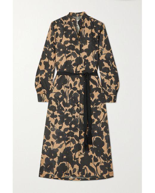 Officine Generale Black Bonnie Midi-hemdblusenkleid Aus Baumwollpopeline Mit Blumenprint Und Bindegürtel