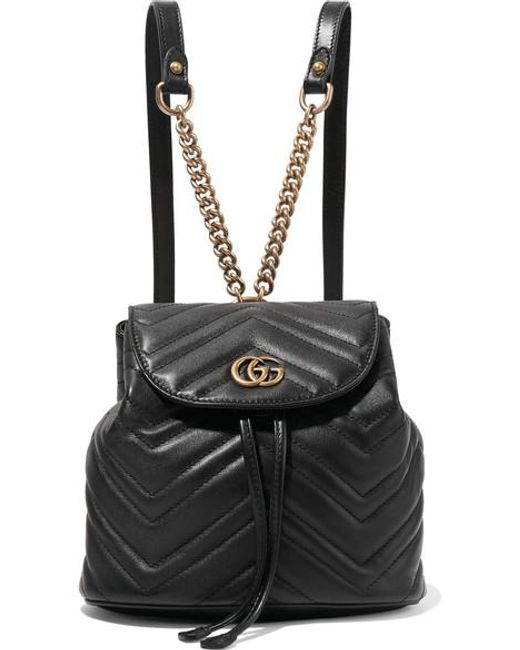 Gucci Black Leather Marmont Matelass Drawstring Backpack