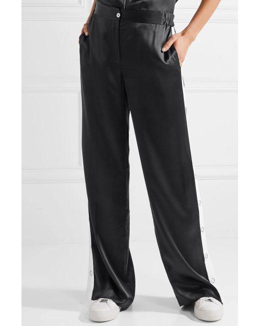Cheap Sale Very Cheap Outlet 100% Guaranteed Arwen Striped Silk-satin Wide-leg Pants - Black Equipment RV2QL5B4