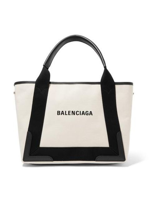 Balenciaga White Cabas Small Leather-trimmed Canvas Tote