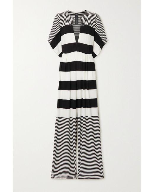 Norma Kamali Black Striped Stretch-crepe Jumpsuit