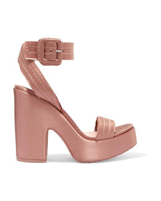 Pedro Garcia - Pink Thora Frayed Satin Platform Sandals - Lyst