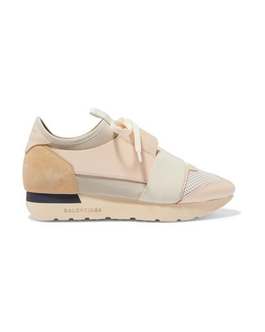 super populaire 9c008 927fd Women's Natural Race Runner Leather, Suede, Mesh And Neoprene Trainers