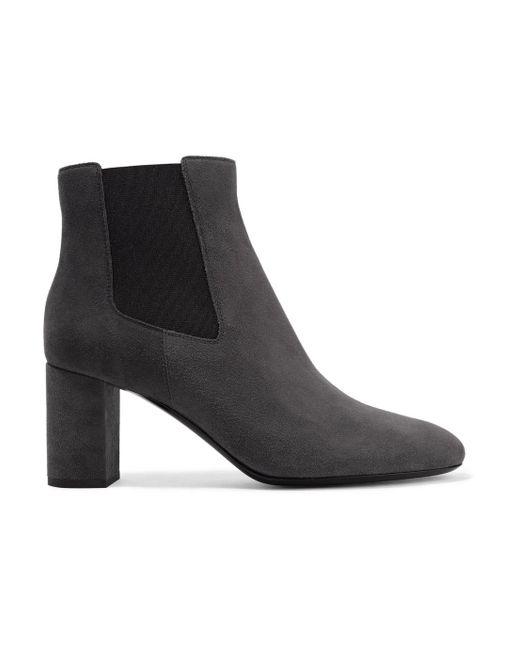 Saint Laurent - Gray Lou Suede Ankle Boots - Lyst