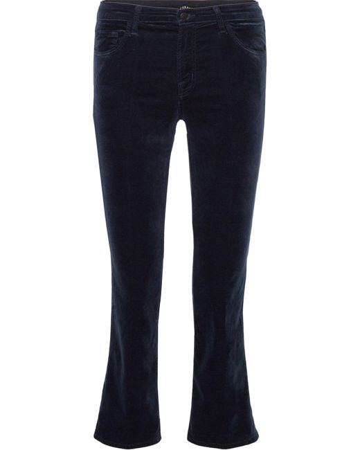 J Brand - Blue Selena Cropped Cotton-blend Velvet Flared Pants - Lyst