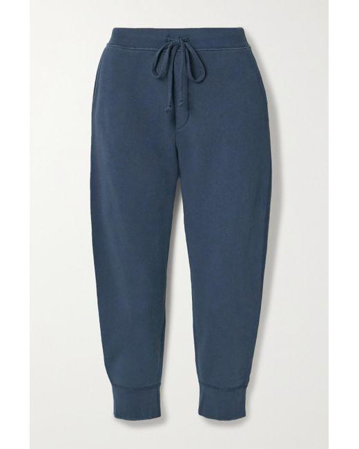Nili Lotan Blue Nolan Cropped Cotton-jersey Track Pants