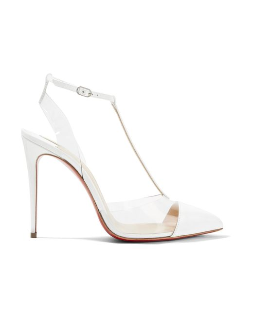 Christian Louboutin | White Nosy 100 Patent-leather And Pvc T-bar Pumps | Lyst