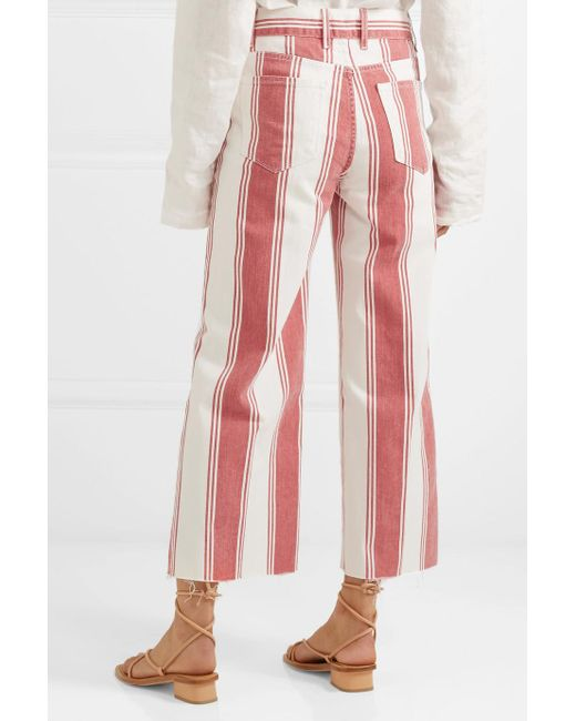 Vintage Crop Striped High-rise Wide-leg Jeans - Red Frame Denim O96Ufl