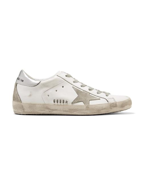 Golden Goose Deluxe Brand - White Superstar Distressed Metallic Leather And Suede Sneakers - Lyst