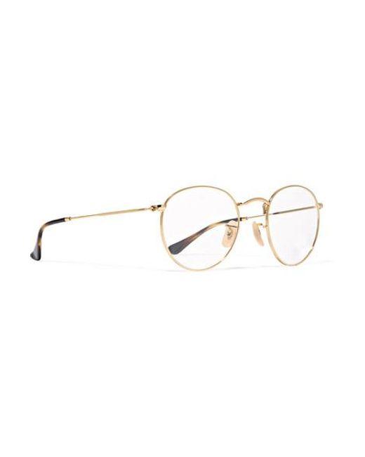 Ray-Ban Metallic Goldfarbene Brille Mit Rundem Rahmen