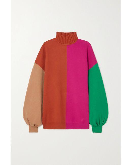 Roksanda Orange Clover Color-block Knitted Sweater