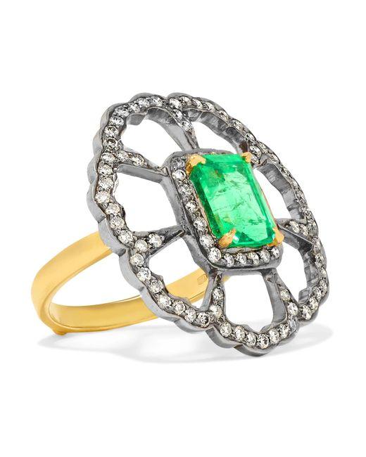 Amrapali - Metallic 18-karat Gold, Sterling Silver, Diamond And Emerald Ring - Lyst