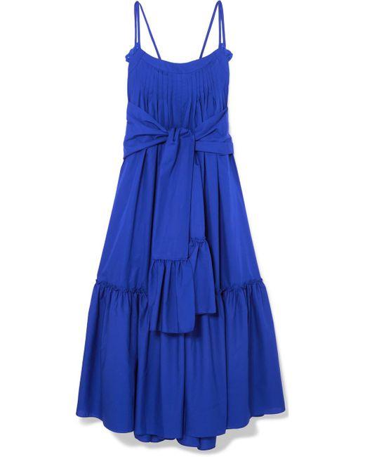 Three Graces London - Blue Adriadne Ruffled Cotton-poplin Maxi Dress - Lyst