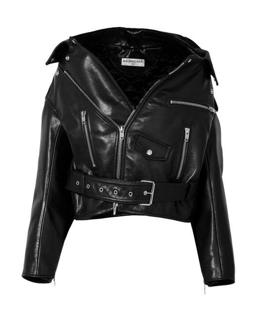 1ffc485e5f962b Balenciaga - Black Swing Oversized Leather Biker Jacket - Lyst ...