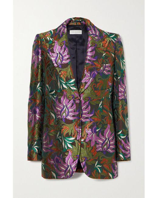 Dries Van Noten Green Bailey Floral-jacquard Blazer