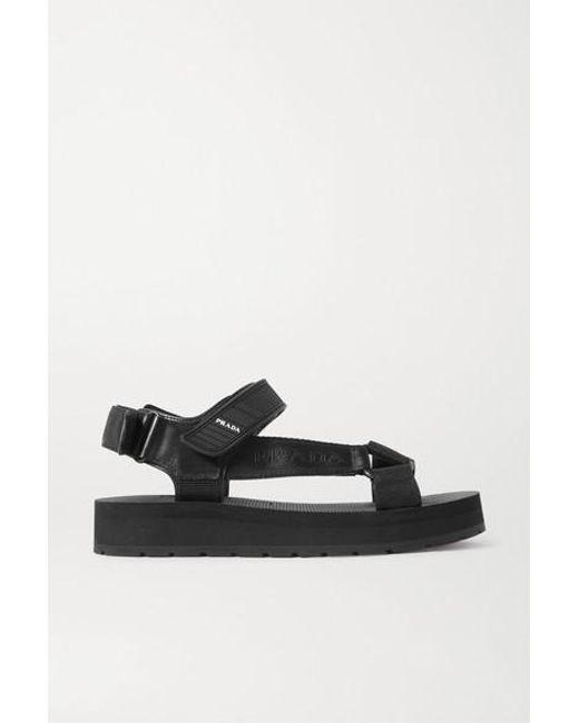Sandales En Toile, Cuir Et Caoutchouc À Logo Nomad Prada en coloris Black