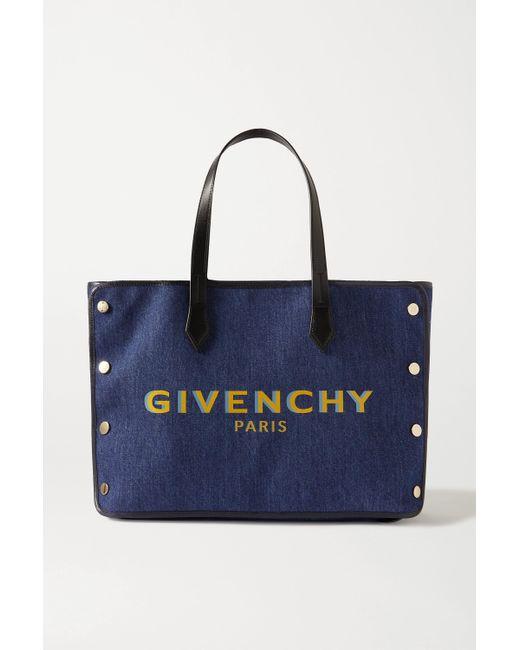 Givenchy Blue Bond Tote Aus Denim Mit Print Und Lederbesätzen