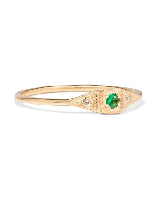 Jennie Kwon | Metallic Mini Deco Point 14-karat Gold, Emerald And Diamond Ring | Lyst