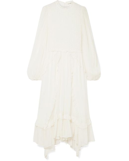 Ulla Johnson - White Arielle Ruffled And Crinkled Silk-crepon Dress - Lyst