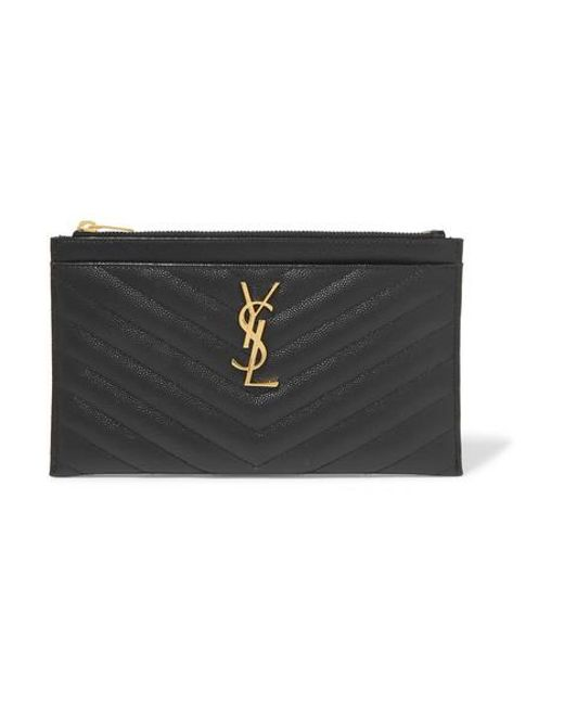 Saint Laurent Black Monogramme Quilted Textured-leather Pouch