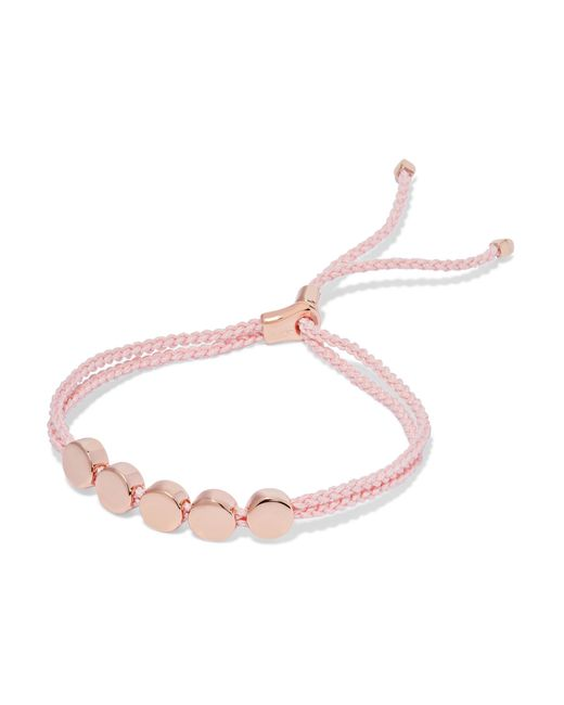 Monica Vinader | Multicolor Linear Bead Rose Gold Vermeil And Woven Bracelet | Lyst