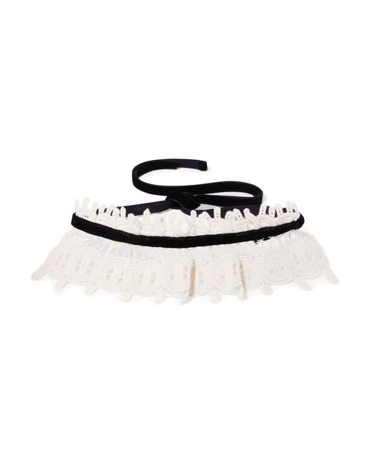 Anna Sui - Multicolor Natural Corded Cotton-lace And Velvet Choker - Lyst