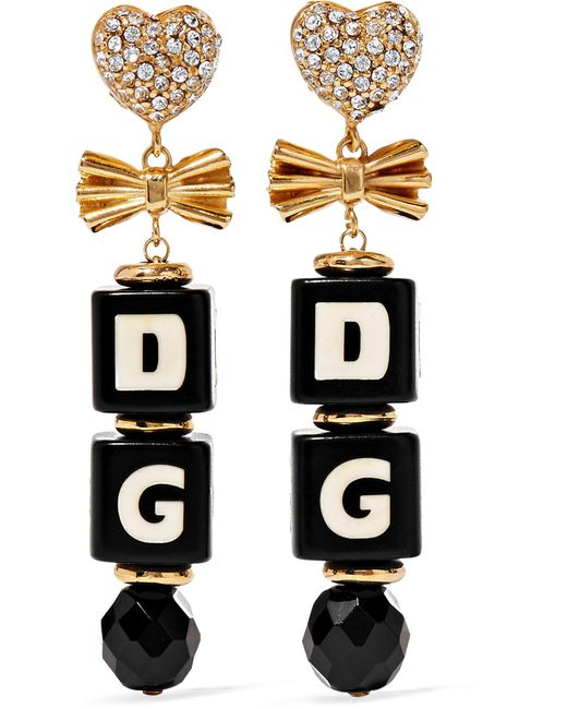 Dolce & Gabbana   Metallic Gold-plated, Swarovski Crystal And Resin Clip Earrings   Lyst