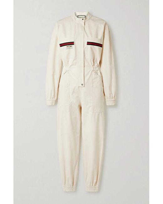 Gucci White Appliquéd Grosgrain-trimmed Cotton Jumpsuit