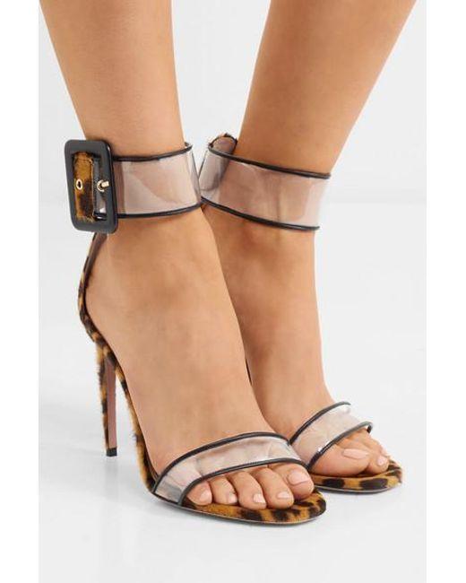 b1b96741e9cd ... Aquazzura - Multicolor Seduction Pvc And Leopard-print Calf Hair Sandals  - Lyst ...