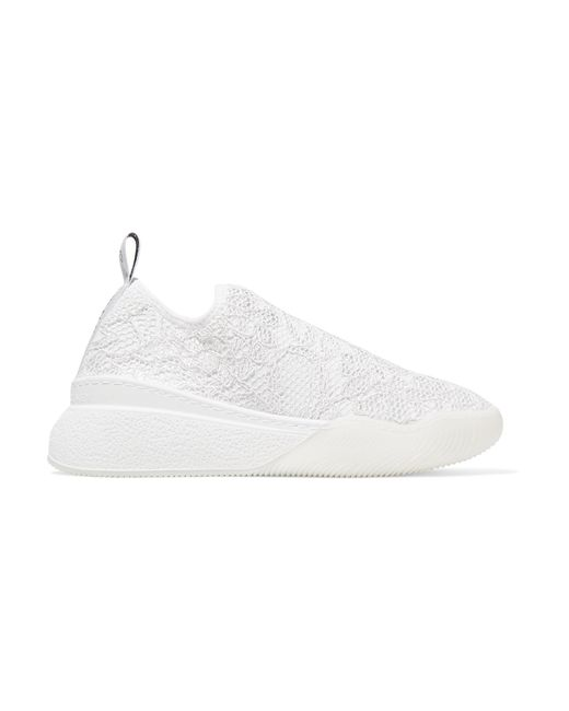 1a891823b074 Stella McCartney - White Loop Logo-woven Corded Lace Slip-on Sneakers - Lyst  ...