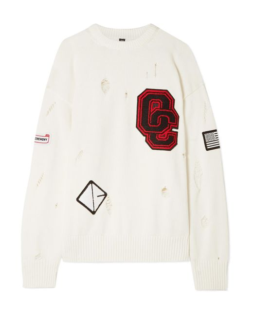 Opening Ceremony - White Varsity Appliquéd Distressed Cotton-blend Sweater - Lyst